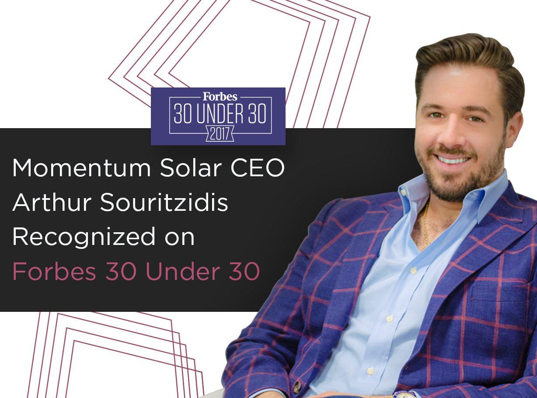 Momentum Solar CEO Arthur Souritzidis Recognized on Forbes 30 Under 30